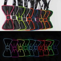 Wholesale Tie Up Toys - Fashion LED Bow Tie Lumious Neck Tie Cosplay Party DJ Club Glowing Halloween Light Up Evening Party