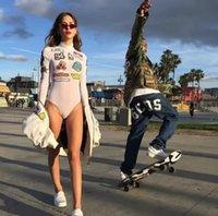 Wholesale Sexy Boobs Girls - GCDS Bodysuits Shark Hip Hop Fashion Sexy Girl Kawaii Perspective Long Sleeve Tee Gcds Mesh Hotline Chop Skateboard Boobs Romper