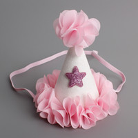 Wholesale Girls Hat Mini - New Cute Newborn Mini Chiffon Girls Infant Petals Crown Hat Caps Flowers Headbands For Baby Girls Birthday Party Hats Hair Accessories A6888