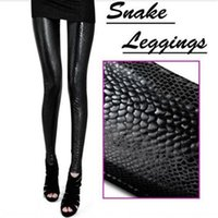 Wholesale Leather Pants Wholesale For Women - Wholesale- Hot Vogue Women\'s Leggings Snake Print Solid Tracksuit for Women Sexy Rock Skinny Slim Stretch Pants Trousers