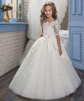 Wholesale Multi Color Beaded Pageant Dresses - Backless Lace Beaded Ball Gown Flower Girl Dresses Vintage Child Pageant Dresses Holy Communion Flower Girl Wedding Dresses