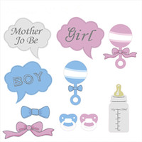 10Pcs / set Baby Shower Party реквизит Baby Бутылка Картон Фото Бут реквизит на Stick Stick Party Set Gift