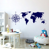 Wholesale large maps - Five Colors Optional Wall stickers World Map Wall Decals For Living Room Office Decoration PVC Mural Removable