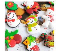 nevera ecológica al por mayor-Regalos de Navidad ecológicos Dibujos animados de PVC Imanes de nevera Santa Claus Calcetines de Navidad muñeco de nieve alces Navidad nevera más estilo
