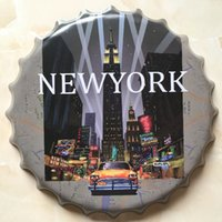 Wholesale Wall Poster New York - New York high quality embossed beer bottle cap design vintage Tin Sign Bar pub home Wall Decor Metal art Poster