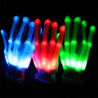Wholesale Skeleton Long Glove - Kukucos Party Halloween Ghost Gothic Black Skull Skeleton LED White Bone Long Cosplay Shine Gloves