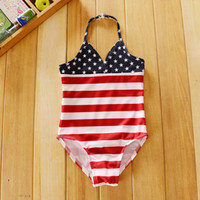 Wholesale Girl Star Swimwear - American Flag Baby Bikini One-piece Swimsuit Newborn Infant Girls' Bathing Stars And Stripes Swimwear Camisole Polyester Elastic