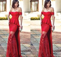 Wholesale Mermaid Tulle Bottom Dress - Stunning Red Mermaid Evening Dresses 2018 Newest Sexy Off Shoulder Satin And Lace Bottom Formal Bridal Party Wear Long Celebrity Gowns