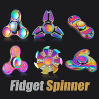 Wholesale Rainbow Years - 2017 Rainbow Fidget Spinner Hand Spinners Finger EDC Toys 3-4 Mins Spins Tri-Spinner Spiral Gyro EDC Fidget With Box