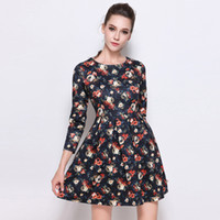 Wholesale Round Neck Long Sleeve Mini - Wholesale Dresses Office Wear Clothing Round Collar Printed Posed Dress Long Sleeve Cultivate One's Morality Show Thin Elegance In Dress