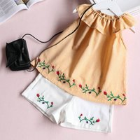 Wholesale Wholesale American Baby Doll - Everweekend Girls Floral Embroidered Outfits Striped Doll Collar Tees and White Pants Cute Baby Summer 2pcs Sets