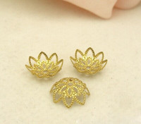 Wholesale gold filigree bead caps - 200pcs lot Gold Plated Flower Metal Bead Caps 10mm Filigree Jewelry Findings Connector Beads Cap Wholesale Parts Jewelrys Diy