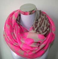 Wholesale Neon Scarfs - Wholesale- Neon Color Leopard Print Infinity Scarf Snood Women's Party Event Accessories Gift for Her Free Shipping