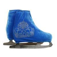 calçados cobrem o céu venda por atacado-Atacado-24 Cores Criança Adulto Velvet Ice Patinação Artística Shoes Cover Roller Skate Tecido Acessórios Sky Blue Big Crown Rhinestone