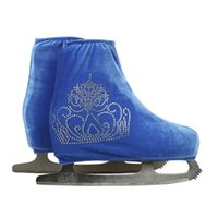 Wholesale adults ice skates - Wholesale- 24 Colors Child Adult Velvet Ice Figure Skating Shoes Cover Roller Skate Fabric Accessories Sky Blue Big Crown Rhinestone