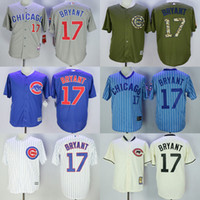 Wholesale Men Chicago Cubs Kris Bryant white stripes gray green blue cream baseball jerseys throwback adult size mix order