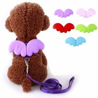 Wholesale Designer Dog Collars Leads - Fashion Cute Angel Pet Dog Leashes and Collars Set Puppy Leads for Small Dogs Cats Designer Wing Adjustable Dog Harness Pet Accessories
