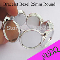 Wholesale Round Resin Cabochons - Fashion Jewelry Bracelets 25MM Silver Round Elastic Bracelet Blanks, Bracelet Trays with Bezel Setting 25mm For Stones or Cabochons