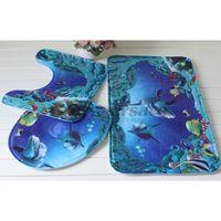 Wholesale Cotton Lid Covers - Wholesale- Shark Blue Pedestal Rug + Lid Toilet Cover + Bath Mat Carpet Bathroom 3pcs set