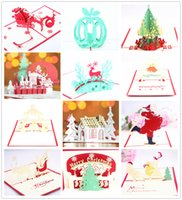 Wholesale Greeting Card Packs - 12-Packed Newest christmas 3d greeting card christmas greeting card christmas decorations pop up greeting card wholesale