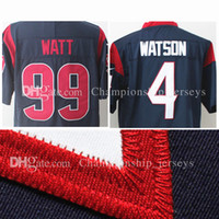 Wholesale Mens American Football Jerseys - 2017 Mens 4 Deshaun Watson Football Jerseys 99 J.J. JJ Watt American Sports Stitched jersey wholesale