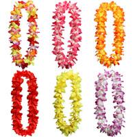 Wholesale Christmas Wreath Decorations Wholesale - Hawaiian Leis Silk Flower Party Favor leis Artificial Garland Wreath Cheerleading Necklace Decoration