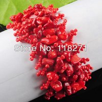 Wholesale Coral Chips - Wholesale-Free shipping Red Coral Beads Chip Weave Adjustable Bracelet Gem 4~8MM Charm PK1642