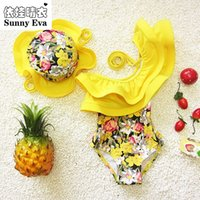 Wholesale Kids Floral Swimsuits - Wholesale- sunny eva one piece swimsuit floral swimming suit for kids children girl bathing suits clothes kids swimwear with swimming cap