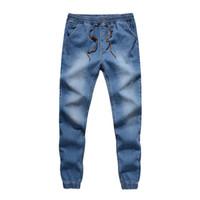 Wholesale Harem Jean Pants Men - Wholesale- Brand Designer Mens Denim Jeans Men Drawstring Slim Fit Denim Joggers Mens Harem Pant Men Stretch Elastic Jean Pencil Pants