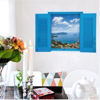 Wholesale romantic sticker design - Sk9060 Warm Romantic Blus False Window Scenery Sea 3D Wall Stickers Removable Wall Sticker Mural Decal