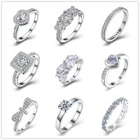 Mixed Wholesale 925 Sterling Silver Plated AAA Zircon Engagement / Wedding Rings Women Fashion Jewelry Frete Grátis
