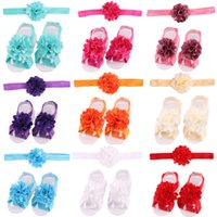 Wholesale Baby Barefoot Sandals Headband - Baby Sandals Flower Shoes Cover Barefoot Foot Flower Ties Infant Girl Kids First Walker Shoes Headband Set Photography Props 17 Colors A46