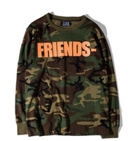 Wholesale Limited Camo - Paris stu FRIENDS VLONE V limited behind Europe tide brand Camo long sleeved t-shirt men and women kanye west ripndip