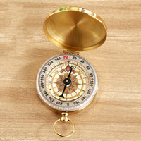 Wholesale Vintage Pointer - 2017 Luminous Brass Pocket Compass Watch Vintage Antique Style Ring KeyChain Camping Hiking Compass Navigation Outdoor Tool Free Shipping