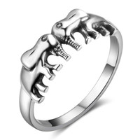 Nouveau 925 Sterling Silver Women Rings Double Éléphants Shape Suck Symbol Cute Rings Bijoux Cadeau Meilleur cadeau JewelOra RI102781