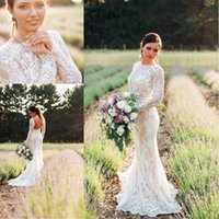 Wholesale Long Sleeve Silk Wedding Gowns - 2017 Modest Long Sleeves Mermaid Wedding Dresses Country Style Lace Backless Wedding Gowns Court Train Beach Bridal Dress