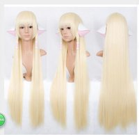 Wholesale Long Pale Blonde Wigs - no accessories Chobits CHII 100cm super long pale COSPLAY wig Synthetic Hair Wigs Cosplay Blonde Wig Peruca Pelucas