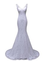 Wholesale Very Sexy Wedding - Free shipping lustrous satin and lace flowers very Sexy Backless mermaid Wedding Dresses vestidos de noiva robe de mariage