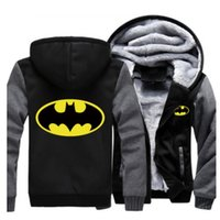 Wholesale Women Winter Coats Usa - USA SIZE Men Women Jackets Super Hero Batman Print Winter Thicken Hoodies & Sweatshirts Zipper Warm Coat Fleece Long sleeved Casual Jackets