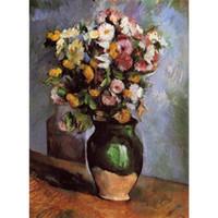 jar pinturas venda por atacado-Flores em um frasco de azeitona por Paul Cezanne paisagens Pinturas para decoração de sala de estar pintados à mão