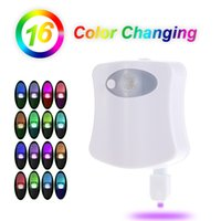 Wholesale Lamparas Diy - Sensor Toilet Light 8 16 Color LED Battery-operated Lamp lamparas Human Motion Activated PIR Automatic RGB LED Toilet Nightlight