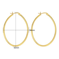 Wholesale Surgical Earrings Hoop - earrings size 2017 New Promotion Fashion 4PC Lot Women Gold color Surgical 316L Stainless Steel Oval Hoop Earrings 4 Size Free Shipping