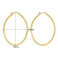 Wholesale Surgical Steel Earrings Hoops - Hoop Earrings 2017 New Promotion Fashion 4PC Lot Women Gold color Surgical 316L Stainless Steel Oval Hoop Earrings 4 Size