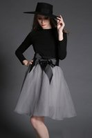 Wholesale Mini Skirt Shirt Sets - Womens Long Sleeve Cotton T-shirt And Lace Skirt Set 2017 European Style Ladies Work Dresses Big Girl Patchwork Shirt skirt