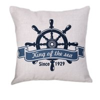 Wholesale Euro Case - Pillow Case Nautical Simple Style Decorative Pillowcases Rudder Anchors Cotton linen Cushions Chair seat Euro Pillow Cover