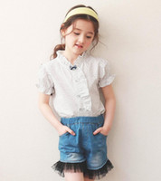 Wholesale Kids Ruffle Jeans - Girls outfits 2017 summer new children dots ruffle collor short sleeve shirt +lace tulle jeans shorts 2pcs sets kids leisure clothing A0806