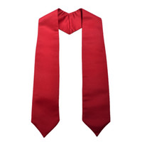 accessoires rouges unisexe achat en gros de-Nouveau Graduation Étole Unisexe Adulte Plaine Collage Étudiants Costume Accessoire 58 pouces Longueur Rouge / Blanc / Noir / Vert
