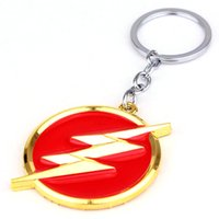 Wholesale Wholesale Copper Metal Keychain - DC Comics The Flash lightning keychain red gold logo 6cm Metal Keychain Keyring gift key chain