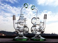 Wholesale Good Water Bottles - 2016 Hbkingbong420 Drink Vapor Bottle Cup Bong Color Cheap 8 Inches Bubblers Double Recycler Glass Oil Rig Good Function Glass Water Pipe