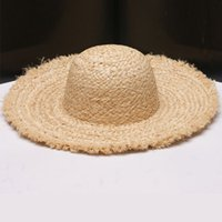 Wholesale Brim Straw Hat Natural - Wholesale- Wholesale 10pcs Womens Plain Summer Beach Sun Hats Ladies Natural Frayed Brim Raffia Straw Hat Womens Big Wide Brimmed Straw Cap